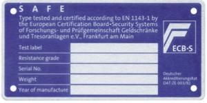 ECB-S Schadenverhütung Tresor Tür Innenseite Plakette