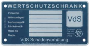 VdS Schadenverhütung Tresor Tür Innenseite Plakette